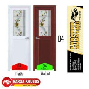 Pintu Kamar Mandi Lux Half Glass Putih Kiri